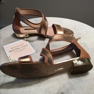brown and gold low heel sandals